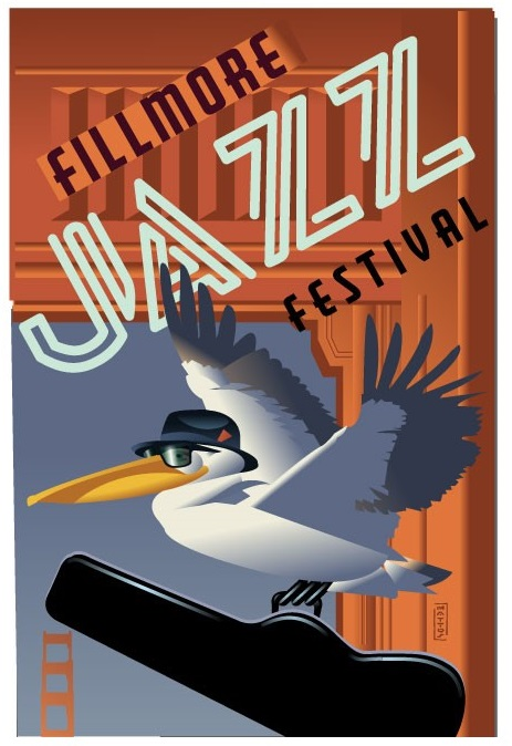 Weekend Fillmore Jazz Festival image with flying seagull carrying a jazz musical instrument case, wearing a black hat.