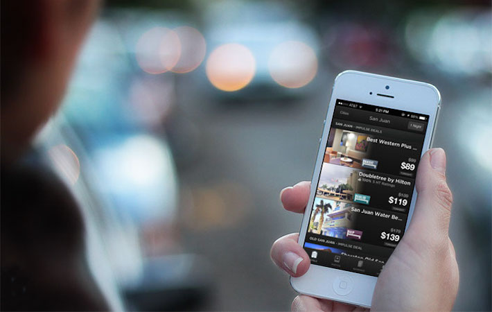 Hotel tonight app on phone