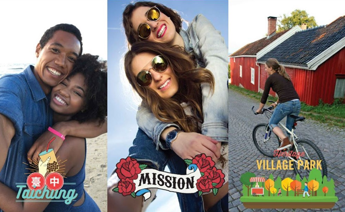 Snapchat collage with geofilters