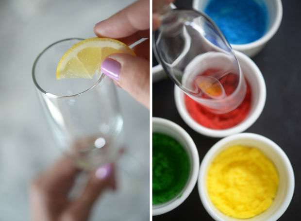 How to make Olympic cocktail glasses with sugar colored rings