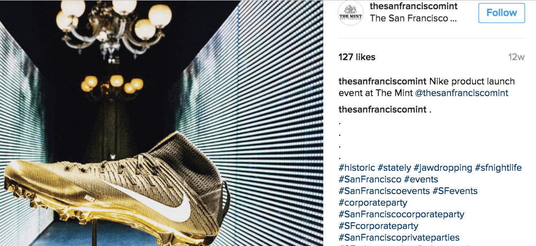 San Francisco Mint Instagram with hashtags