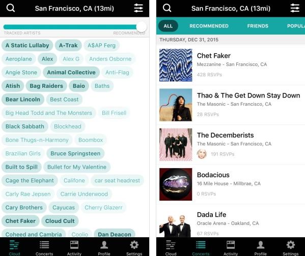 Bandsintown concert app