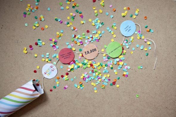 Event Invitations Parties Fun DIY Creative Confetti Colorful