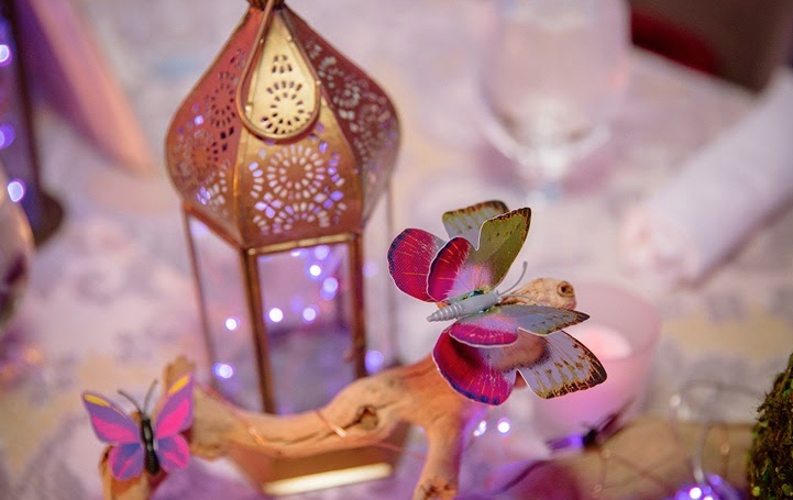 Lanterns with fairy lights and colorful butterflies.