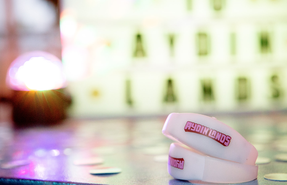 "Sound activated LED wristbands for ""festival guests!"" by 4imprint."